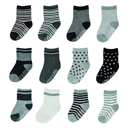 HYCLES Baby Anti Rutsch Knöchelsocken - 12 Paar ABS Socken für Jungen Mädchen Kinder Kleinkind Säugling Neugeborenes (04 Gestreifter und sternförmiger Stil (12 Paare), 5-7 Jahre)