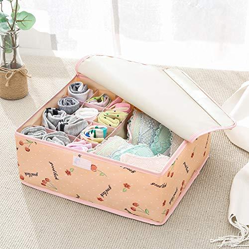 N / A Bedeckte waschbare Unterwäsche Aufbewahrungsbox Stoff Home Finishing Box Oxford Stoff Socken Unterwäsche BH Aufbewahrungsbox 32x26x13CM