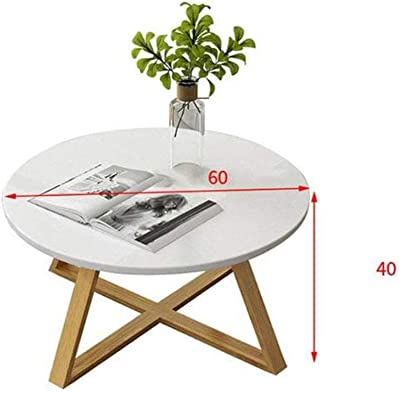 Coffee Table Side Table End Table Snack Table Solid Wood Coffee Table Modern Minimalist Small Apartment Living Room Small Round Table White Coffee Table Side Table End Table (Size : 40 * 60cm)