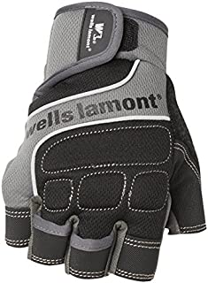 Wells Lamont Men's Fingerless Synthetic Leather Work Gloves, Grey, Medium (841GM)