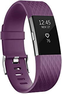 For Fitbit Charge 2 Bands, Adjustable Replacement Sport Strap Bands for Fitbit Charge 2 Smartwatch Fitness Wristband Small-Purple