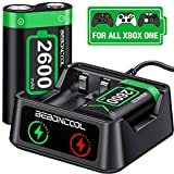 BEBONCOOL Akku für Xbox One Controller mit 2x2600mAh Wiederaufladbarer Akku, Controller Ladestation für Xbox One X1 SERRIS X / Xbox One / One S / One X / One Elite Controller