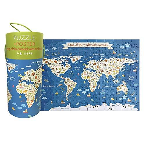 YzDnF Stück Puzzle für Kinder 108pcs Kinderbuch Cartoon Puzzle Logik Smart-Aufklärung Spielzeug Portable (Color : Animal World, Size : 24x11cm)