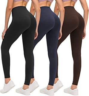 ZOOSIXX High Waisted Leggings for Women, Opaque Soft Slim Tummy Control Pants for Yoga Workout Running - 3 Pack (Black, Na...