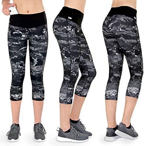 Formbelt Damen Laufhose 3/4 Leggings mit Handytasche für Sport Running Wandern Walking Fitness Marmor meliert Bedruckt (L)