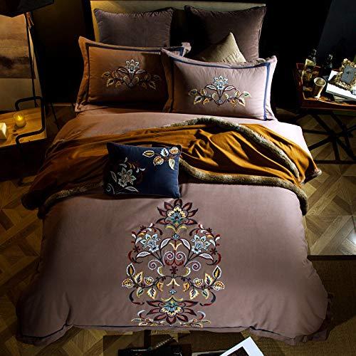 Broderie Luxueuse Housse De Couette Fermeture à Glissière Doux Et Confortable 100% Coton Ensembles De Literie,220x240cm