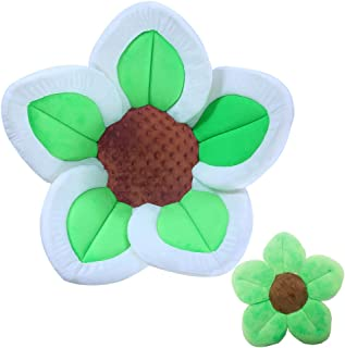 Baby Bath Flower Soft Cushion Non-Slip Safety Sink Insert Tub Creative Play-mat 0-12 Months, Includes Mini Bath Flower Scrubby Toy BPA Free (Baby Green)