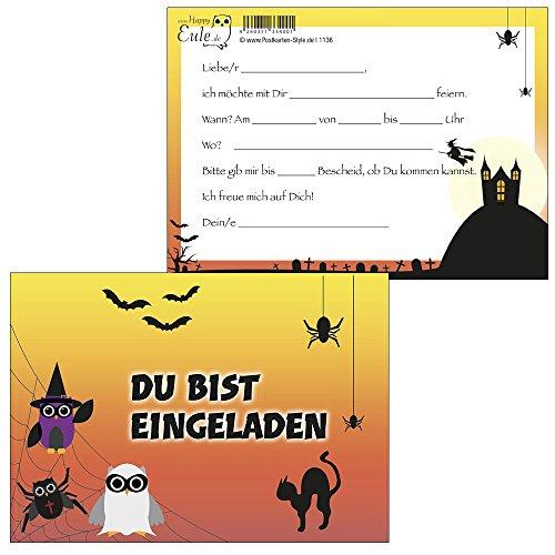 10 Stück Einladungskarten Spider - Eulen