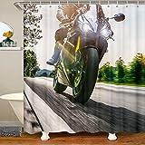 Dirt Bike Mit Haken Extremsport Thema Stoff Duschvorhang 180x210 für Kinder Cooler Motocross Racer Wasserdichtes Duschvorhang Textil Motorrad Bike