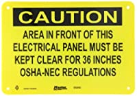"""Master Lock S5050 10"""" Width x 7"""" Height Polypropylene, Black on Yellow Safety Sign, Header """"Caution"""", Legend """"Area In Front of This Electrical Panel Must Be Kept Clear for 36 Inches OSHA-NEC Regulations"""""""