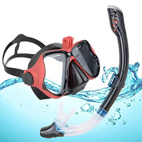 DiiDa Snorkel Set Adults and Youth with Go Pro Mount Tempered Glass Anti fog Mask Anti Leak Snorkel Mouthpiece Scuba Diving Kit