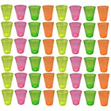 Generico Lot de 48 gobelets en Plastique colorés, Transparents, réutilisables. Couleurs Fluo. 330 ml.