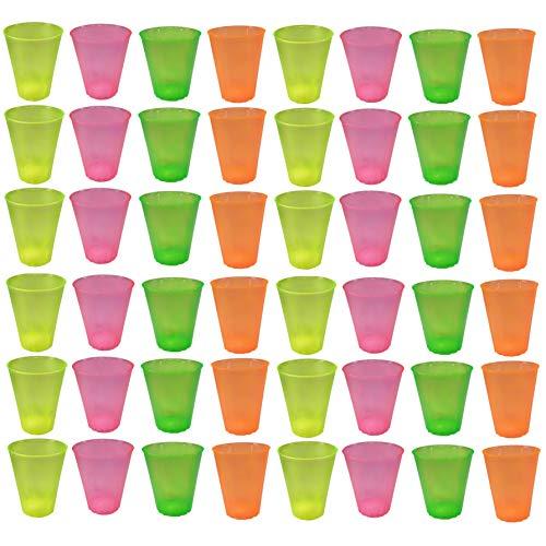 Vasos de plástico Colores, Transparentes, Reutilizables. Colores Fluorescentes Mixtos, 48 Unidades. 500 ml.