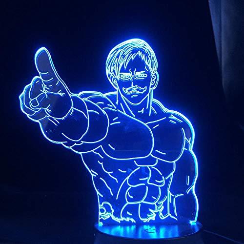 The Seven Deadly Sins Escanor Led Luz Noturna para a decoração do quarto Mood Luz Anime 3D Lamp P Home Decor Lamp-With_Remote