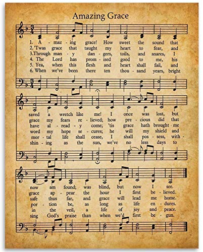 Amazing Grace Music and Lyrics - 11x14 Unframed Art Print - Great Inspirational Gift and Decor Under $15