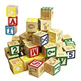 MTS Wooden ABC 123 Building Blocks Kids Alphabet Letters Numbers Bricks Toy Set (ABC and 123 Blocks)