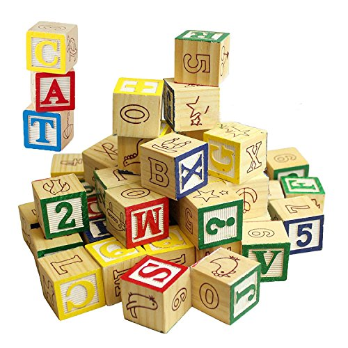 MTS Wooden ABC 123 Building Blocks Kids Alphabet Letters Numbers Bricks Toy Set (ABC and 123 Blocks)