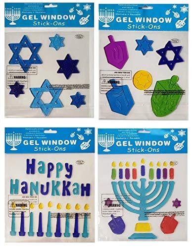 Hanukkah-Chanukah Window Gel Cling Decor Bundle | Stars of David, Menorah with Candles, Dreidels, and More - 4 Sheets