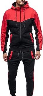 Men Tracksuit 2PC Patchwork Sweatshirt Top Pants Hooded Sports Suit