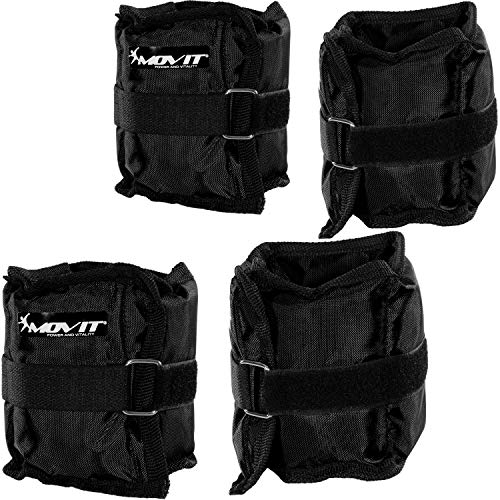 Movit® Set de 4 Pesas Ajustables para la muñeca y el Tobillo 2 x 500 g (1,10 LB) y 2 x 1000 g (2,20 LB) Pesas para Correr Color Negro Fuerza Gimnasio Gimnasio Entrenamiento Resistente a la Fatiga