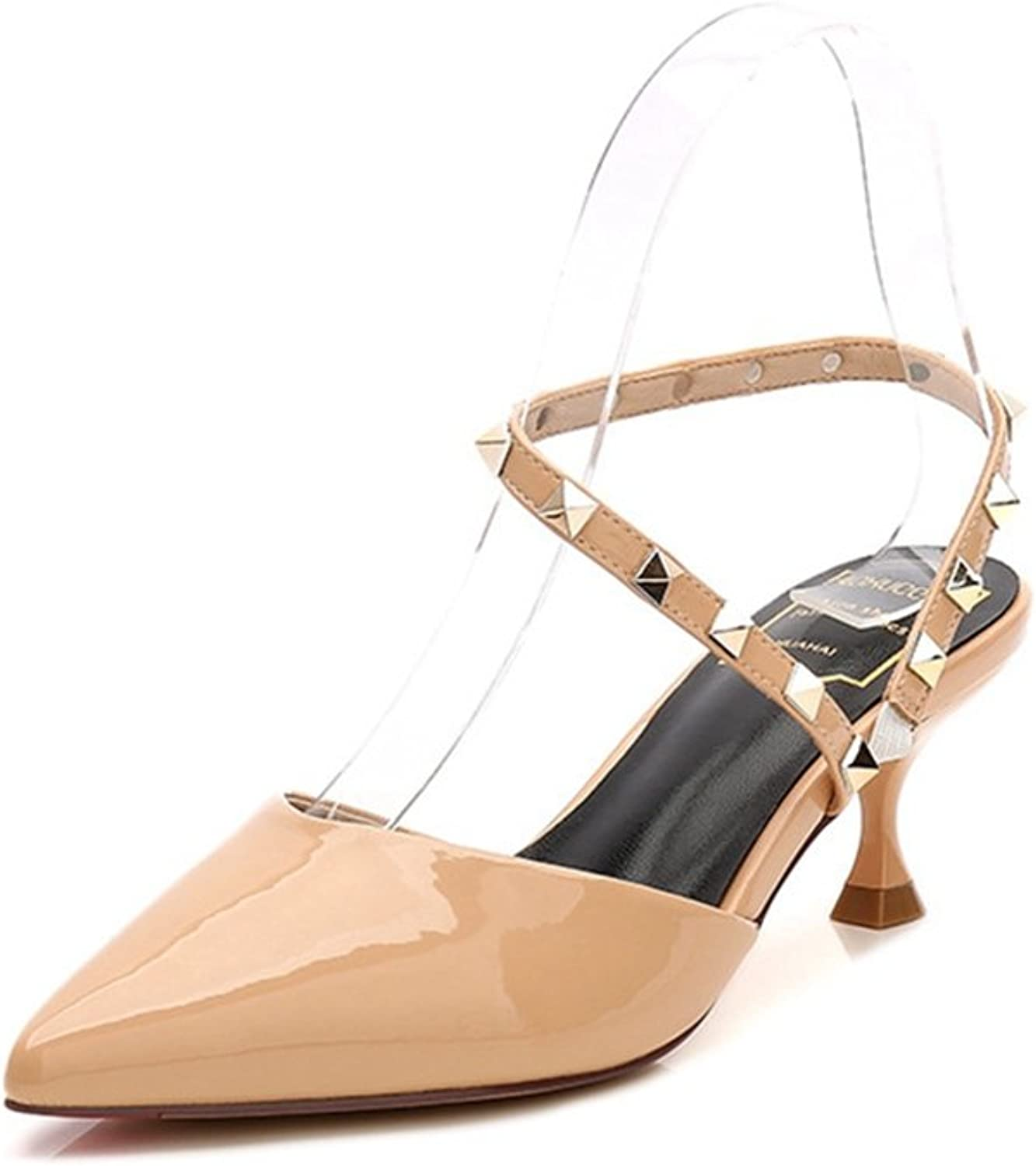Zarbrina Heeled Sandals for Women Pointed Toe Rivet Strappy Slingback shoes T-Strap Ankle Heels Dress Wear