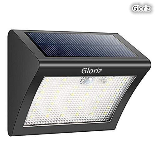 Foco Solar, GLURIZ Luces Solares 1500mAH 38 LED 3 Modos lámparas solares de pared Impermeable IP65, Luz…