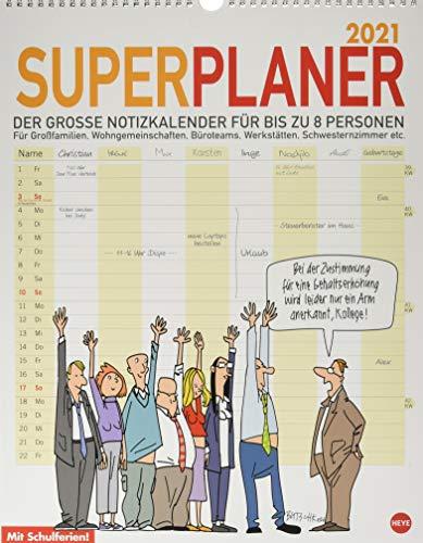 Butschkow: Superplaner Kalender 2021: Der grosse Notizkalender für bis zu acht Personen.