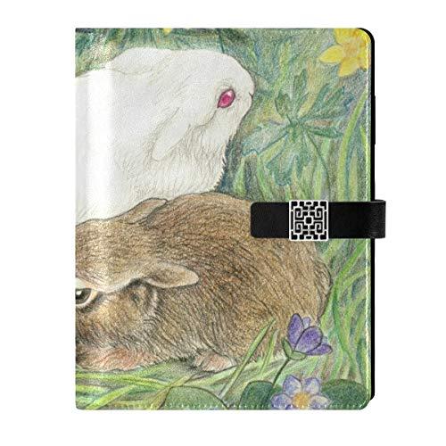 Cuaderno de cuero para diario de viaje, diseño de conejos, Pascua, rellenable, tamaño A5, con anillas de tapa dura, para mujeres y hombres