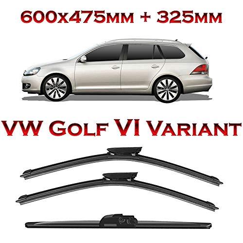 Jurmann Trade GmbH® 3er Komplett-Set Aero Scheibenwischer Vorne 600/475 mm & Hinten 325 mm Golf VI Variant