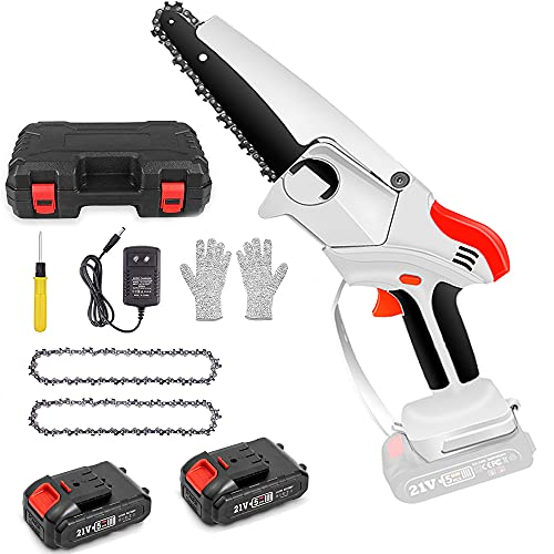 Mini Chainsaw, 6 Inch Power Rechargeable Electric Handheld Cordless Little...