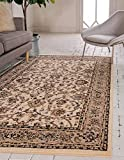 Unique Loom Kashan Collection Traditional Floral Overall Pattern with Border Ivory Area Rug (9' 0 x 12' 0)