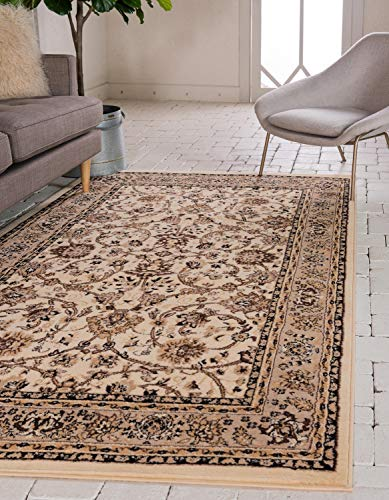 Unique Loom Kashan Collection Teppich mit traditionellem Blumenmuster und Bordüre, elfenbeinfarben, 2,7 m x 3,3 m