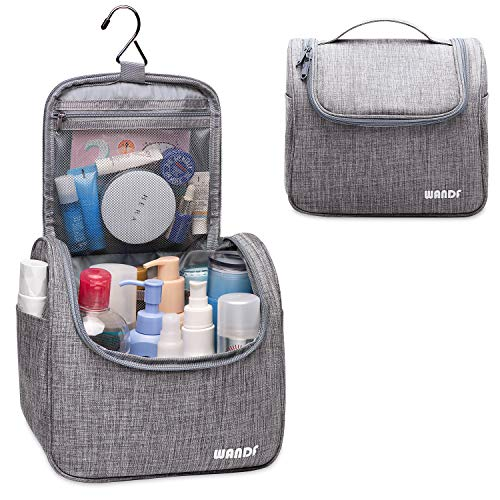 WANDF Hanging Toiletry Bag Travel Cosmetic Organizer Shower Bathroom Bag for Men Women Water-Resistant (Denim Grey)