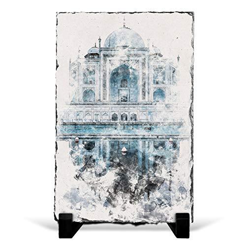 Big Box Art The Taj Mahal in Agra India Abstract Watercolour - Slate Rock Picture Frame Home Décor Ornament - 30x20 cm