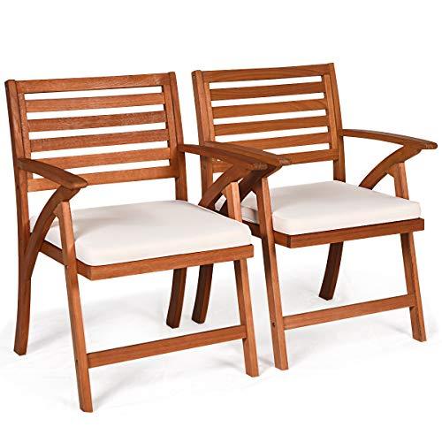 COSTWAY 2er Set Gartenstühle mit Kissen Terrassenstühle Holzstuhl Balkonstuhl Gartensessel Gartenmöbel Stuhl Gartenstuhl Eukalyptusholz für Terrasse, Veranda, Balkon