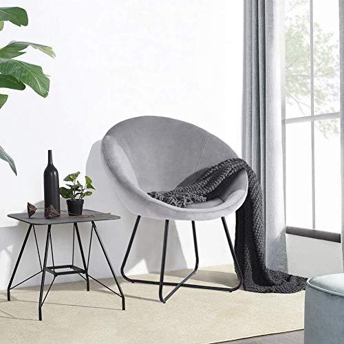 Greensen Esszimmerstuhl Runder gepolsterter Samt Lounge Chair Vintage Besucherstuhl mit Metallbeinen Stoffstuhl Club Stuhl TV Stuhl