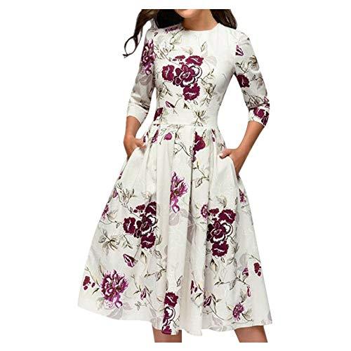 LOPILY Damen Sommerkleider Partykleid Rundhals Ärmellos Blumendruck Kleider Abendkleider A-Linie Hoher Taille Kleid Frauenkleid Knielang(Weiß,DE-38/CN-L)