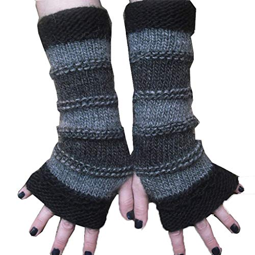 JUST Unisex Fingerlose Lang Fäustlinge,Grau Handschuhe Fingerlos,Touchscreen Sport ArmwäRmer Winter