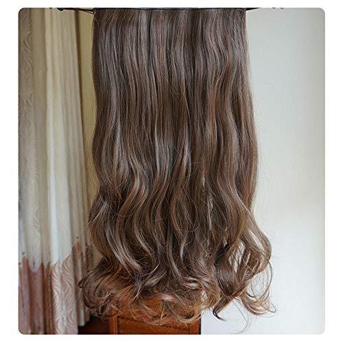 Rallonge en une pièce perruque de simulation Rallonge en une longue pièce de cheveux bouclés sans trace de cheveux épais-marron clair