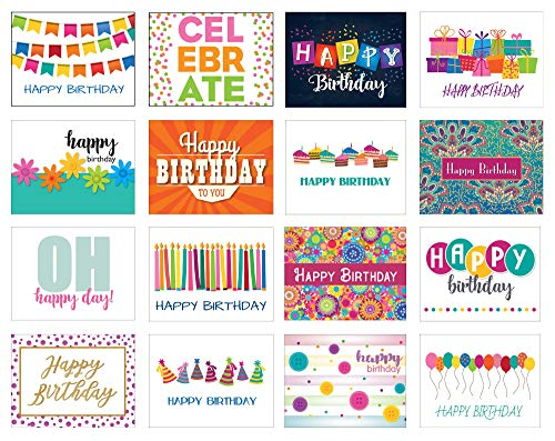 16 Birthday Card Assorted Pack - 16 Unique Assorted Designs Blank Cards - Bulk Boxed Set (16 Cards)