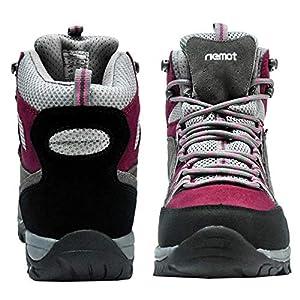 riemot Women's Hiking Boots - Waterproof Light Trekking Boots for Woman, Breathable Comfortable Winter WalkingTrailing Footwear Non Slip Ankle Boots Grey Wine 7 US / 38 EU