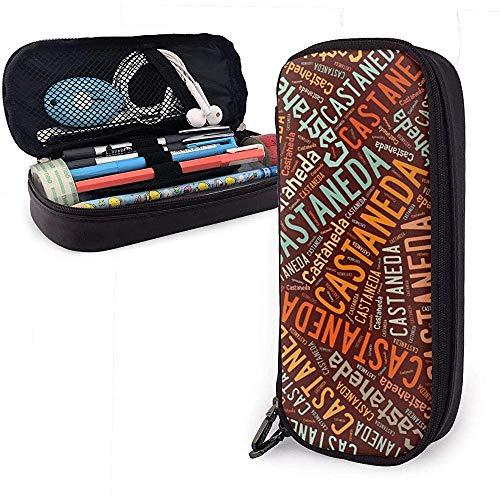 Castaneda - Estuche de lápices de cuero de gran capacidad con apellido americano Organizador de papelería Organizador Bolígrafo portátil Bolso cosmético