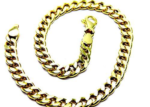Pegaso GioielliPulsera de oro amarillo de 18ct, eslabonesgrumet, para hombre, 21 cm
