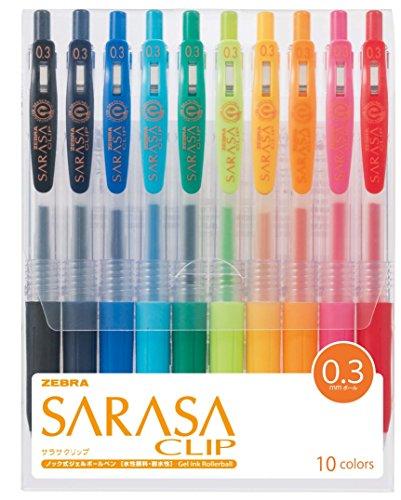Zebra Sarasa Clip 0.3, 10 Color Set (JJH15-10CA)