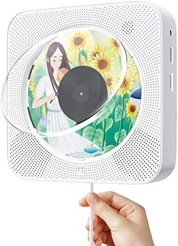 Reproductor de DVD CD Portátil Bluetooth, 1080p HD HDMI Conexión, con Control Remoto, Radio FM, Altavoz HiFi, USB, Conector para Auriculares, Soporta Formatos DVD/CD/VCD/MP3/WMA/AVI/JEPG (Blanco)