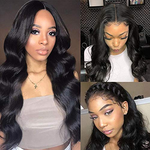 14 Inch Body Wave Lace Front Wig Human Hair Pre Plucked Brazilian Body Wave 4x4 Lace Closure Wigs with Baby Hair 9A Natural Glueless Shoulder Length Human Hair Wigs 150% Density Virgin Hair Lace Wig