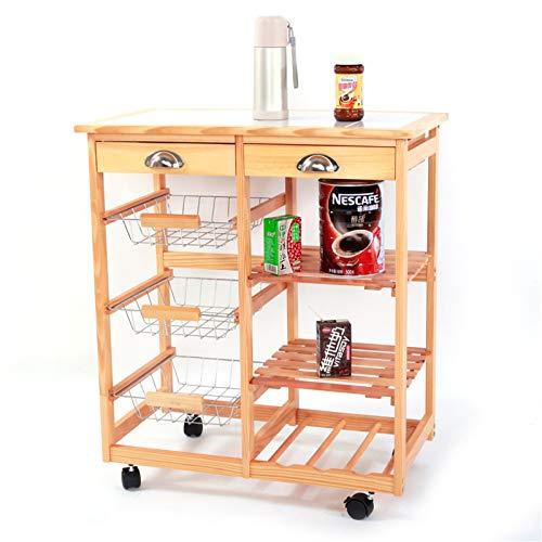 KEAIDO Kitchen Island - Estante organizador con ruedas, 3 estantes para toallas de especias