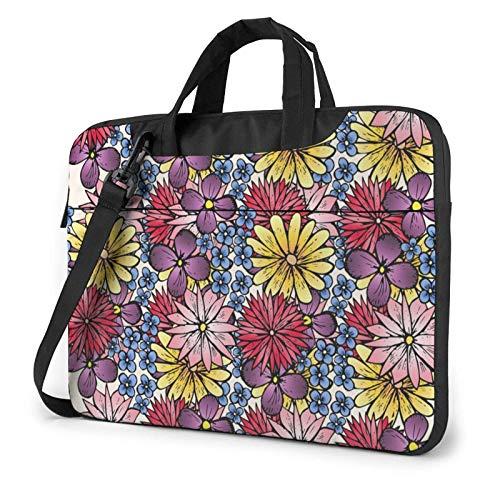 Flowers Colorful Laptop Shoulder Bag Compatible with 13-15.6in Laptop Ultrabook Messenger Shoulder Bag