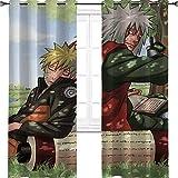 Aotuma Naruto - Cortinas opacas con aislamiento térmico para sala de estar 106,7 cm de ancho x 114,3 cm de largo