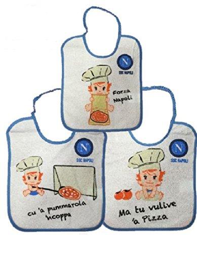 Napoli 3 Bavaglini Neonato Pizza 20x25 cm Ufficiale SSC 00045